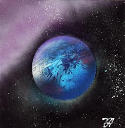 Art: Blue Sapphire Planet by Artist Laura Barbosa