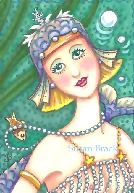 Art: BUBBLE AND PEARL FLAPPER Mermaid by Artist Susan Brack