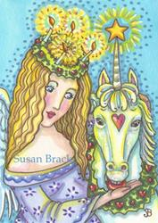 Art: CHRISTMAS ANGEL AND UNICORN by Artist Susan Brack