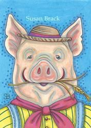 Art: HAPPY HOG FARMER by Artist Susan Brack