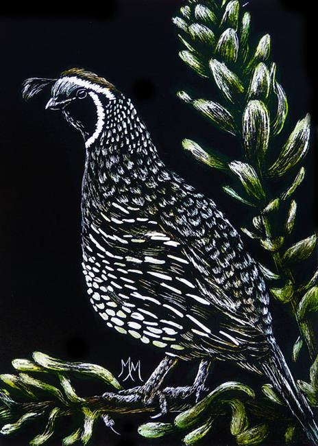 Art: Quail  (SOLD) by Artist Monique Morin Matson
