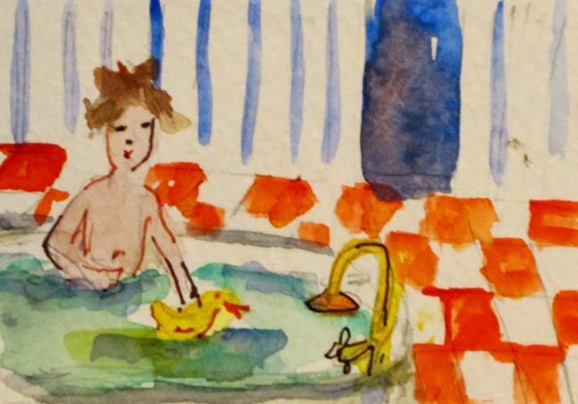 Art: Boy in Tub by Artist Delilah Smith