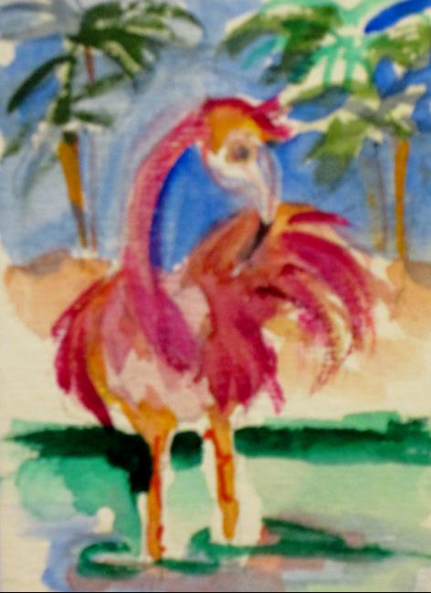 Art: One Flamingo by Artist Delilah Smith