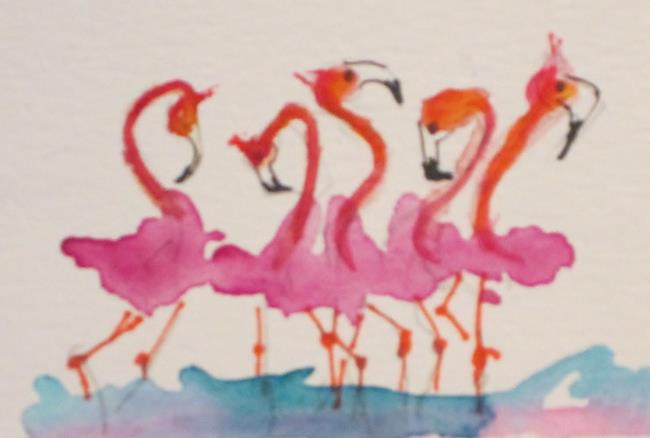 Art: Bunch of Flamingos by Artist Delilah Smith