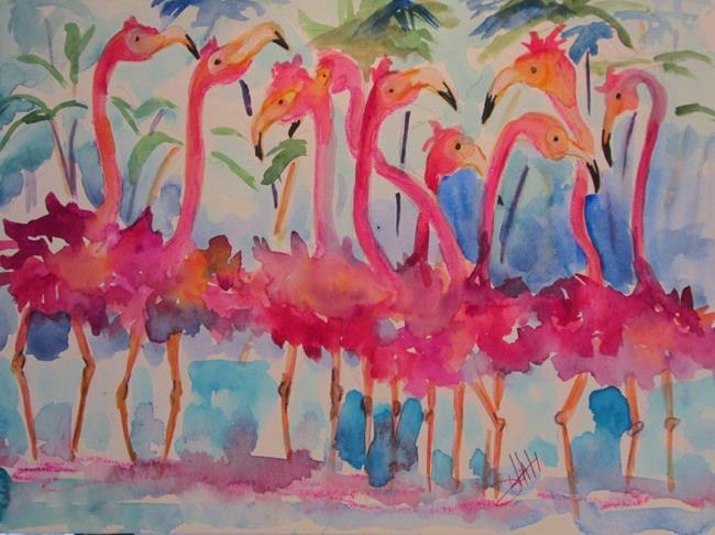 Art: Flock of Flamingos by Artist Delilah Smith