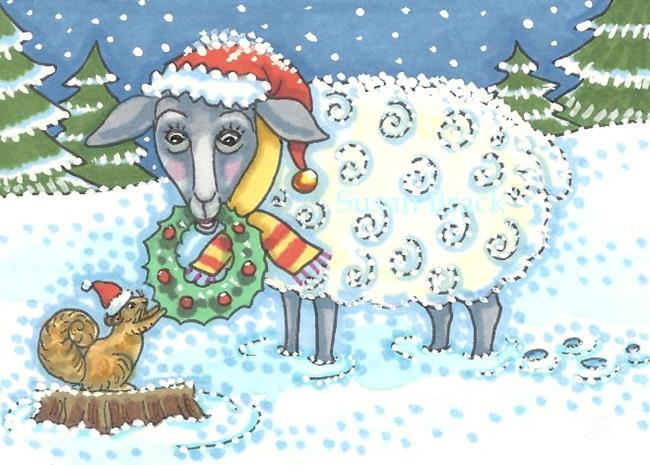 Art: WISHING EWE A MERRY CHRISTMAS by Artist Susan Brack