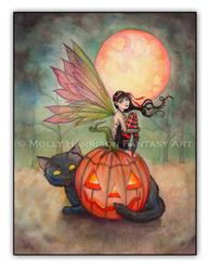 Art: halloweenpixieonwhitepage by Artist Molly Harrison
