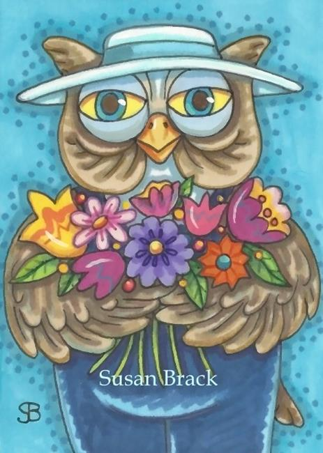 Art: BIRDS OF A FEATHER GARDEN TOGETHER by Artist Susan Brack