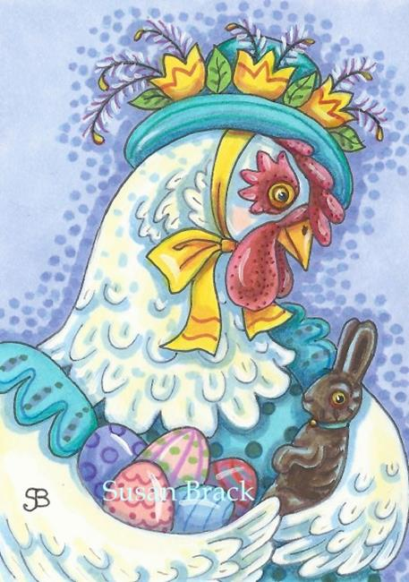 Art: EASTER BONNET AND EGGS by Artist Susan Brack