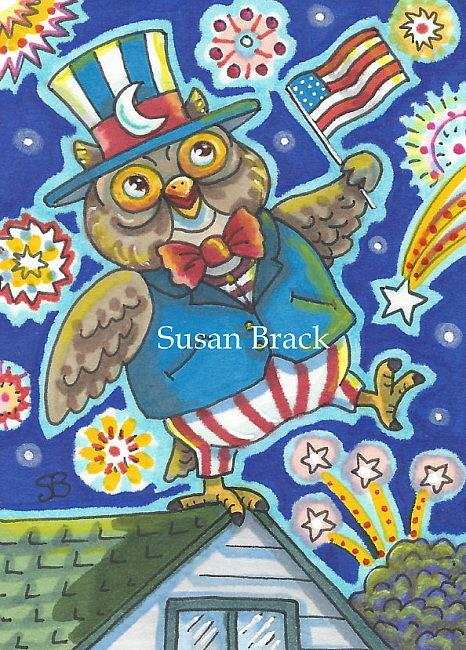 Art: HOOTS FOR THE 4TH OF JULY by Artist Susan Brack