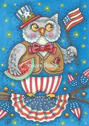 Art: WHOOO LOVES THE RED WHITE AND BLUE? by Artist Susan Brack