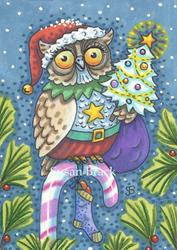 Art: WHOOO'S READY FOR CHRISTMAS? by Artist Susan Brack