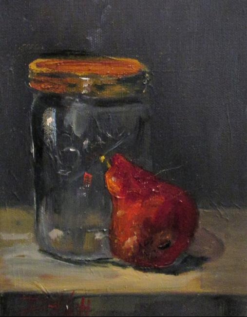 Art: Red Pear and Ball Jar by Artist Delilah Smith