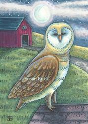 Art: RED BARN OWL by Artist Susan Brack