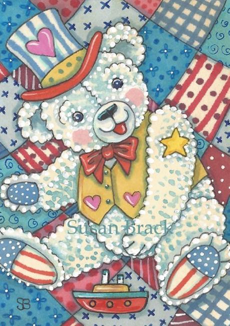 Art: PROUD TO BE AN AMERICAN TEDDY by Artist Susan Brack
