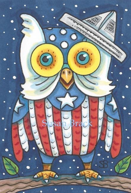 Art: OWL NATION USA by Artist Susan Brack