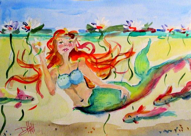 Art: Mermaid and Waterlilies by Artist Delilah Smith