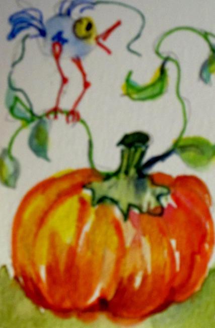 Art: Little Bird and Pumpkin by Artist Delilah Smith