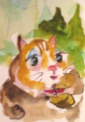 Art: Chipmunk and Nut by Artist Delilah Smith