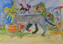 Art: Flowers and Gray Cat by Artist Delilah Smith