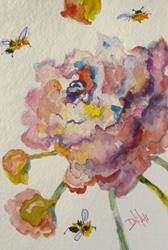 Art: Pink Flowers with Bees by Artist Delilah Smith