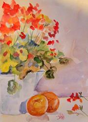 Art: Geraniums and Oranges by Artist Delilah Smith