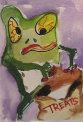 Art: Trick or Treat Frog by Artist Delilah Smith