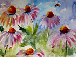 Art: Pink Cone Flowers by Artist Delilah Smith