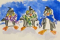 Art: Three Penguins by Artist Delilah Smith