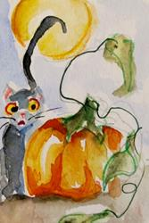 Art: Black Cat and Pumpkin by Artist Delilah Smith