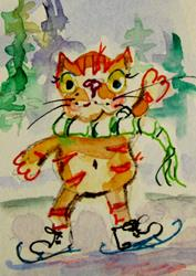 Art: Ice Skating Cat by Artist Delilah Smith