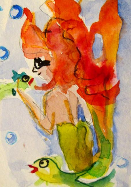 Art: Halloween Mermaid Aceo by Artist Delilah Smith