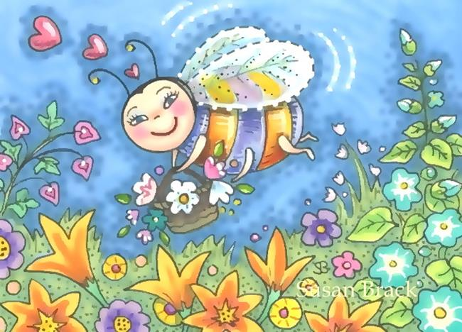 Art: BEE HAPPY Honeybee by Artist Susan Brack