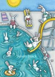 Art: BUNNY POOL PARTY by Artist Susan Brack