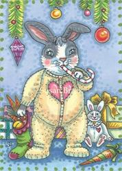 Art: BUNNY'S CHRISTMAS MORNING by Artist Susan Brack