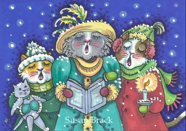 Art: CHRISTMAS CAROLERS by Artist Susan Brack