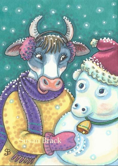Art: FROSTY SNOW COW by Artist Susan Brack