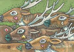 Art: DASHING REINDEER by Artist Susan Brack