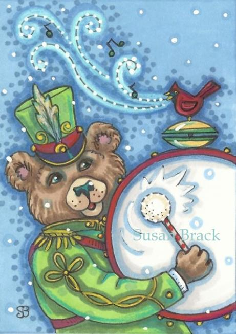 Art: DRUMMER IN THE CHRISTMAS PARADE by Artist Susan Brack