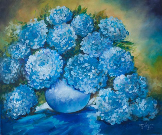 Art: BLUE HYDRANGEAS COMMISSION by Artist Marcia Baldwin