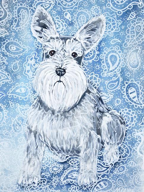 Art: Schnauzer in Blues by Artist Melinda Dalke
