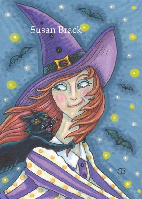 Art: HANG ON TIGHT Black Cat And Witch by Artist Susan Brack