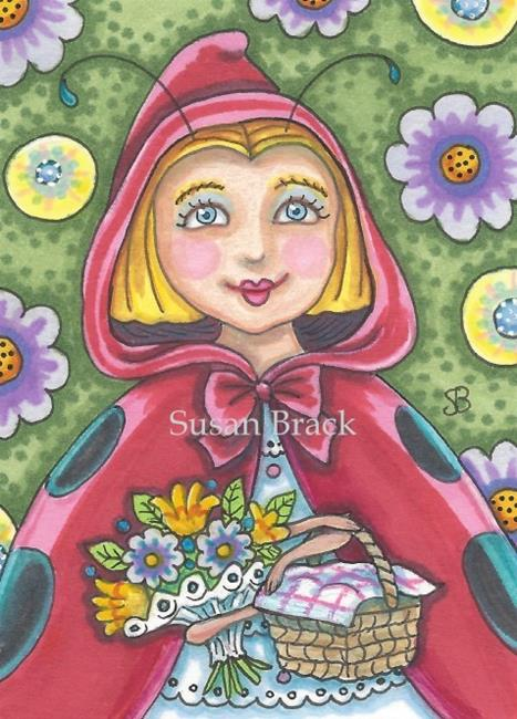 Art: RED RIDING HOOD Ladybug by Artist Susan Brack