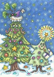 Art: CHRISTMAS TREE FAMILY by Artist Susan Brack