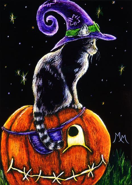 Art: Waiting for Trick or Treats  (SOLD) by Artist Monique Morin Matson