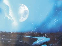 Art: Moon over the Columbia River by Leonard G. Collins by Artist Leonard G. Collins