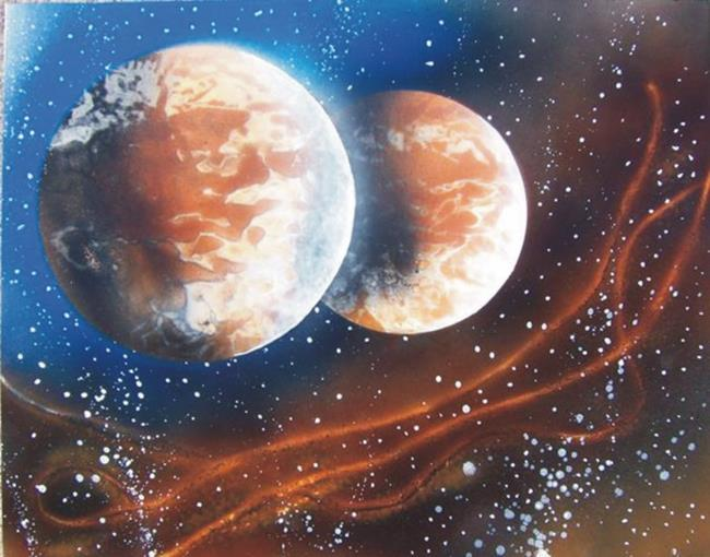 Art: Planets Painting by Leonard G. Collins by Artist Leonard G. Collins