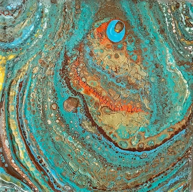 Art: Abstract on Ceramic Tile - sold by Artist Ulrike 'Ricky' Martin