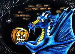 Art: Dragon Halloween  (SOLD) by Artist Monique Morin Matson