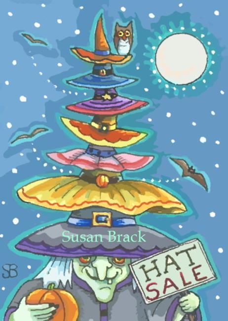 Art: BATS AND HATS by Artist Susan Brack